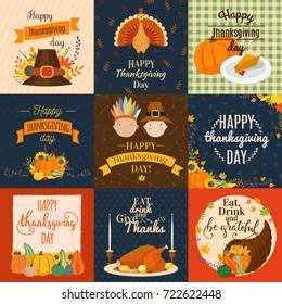 Vector Happy Thanksgiving decoration lettering invintation card design harvest november family celebrate background illustration