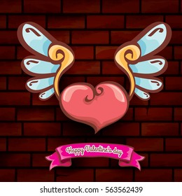 vector happy valentines day cartoon tattoo style heart with angel wings and old vintage ribbon isolated on grunge red brick wall background.