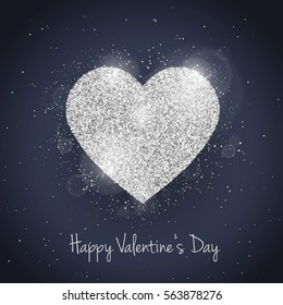 Vector Happy Valentine's Day greeting card with sparkling glitter silver textured heart. Seasonal holidays background. Love Symbol.