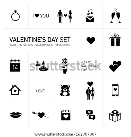 Vector Happy Valentines Day Icons Pictograms Stock Vector Royalty