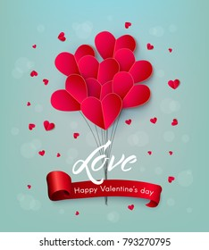 Vector happy valentines day, love invitation card template with origami paper air balloon in heart shape, near small hearts around, red ribbon. Isolated holiday illustration on pink background.