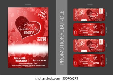 Vector Happy Valentine's Day night party promotional bundle of red poster and tickets with hearts, snowflakes on the dark gray background.