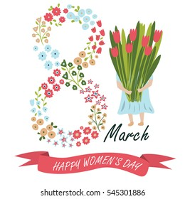 Vector 'Happy Women's Day' poster with cute flowers, ribbon and a girl holding a bouquet of tulips in cartoon style