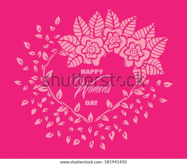 Vector 'Happy Women's Day' poster with cute flowers