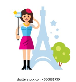 Vector happy young woman taking a selfie with mobile phone in Paris, France. Flat style colorful Cartoon illustration.