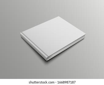 Vector hardcover mockup books with landscape orientation. Realistic cover design presentation template.