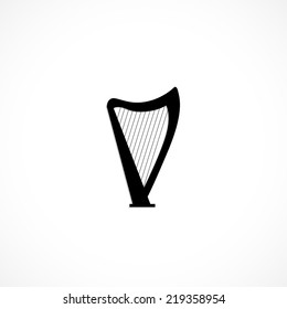 Vector harp, flat icon isolated on white background