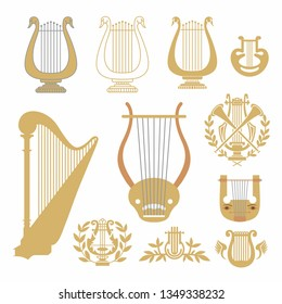 vector harps, isolated. music instrument symbol. sound musical harp. harp with a wreath. harp with wings. Vector illustration on white background.