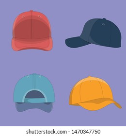 vector hat mockup multiple angle and colors