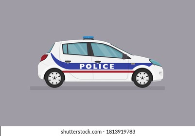 Vector hatcback car. French police car. Side view on grey background.