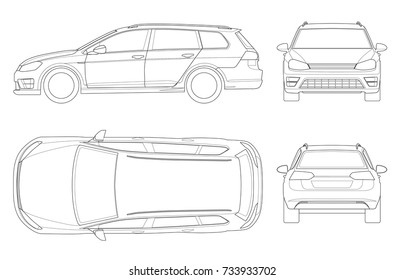 Vector hatchback car in outline. Compact Hybrid Vehicle. Eco-friendly hi-tech auto. Easy to change the thickness of the lines. Template vector isolated on white View front, rear, side, top