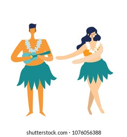 Vector hawaii illustration with dancing girl and men playing ukulele