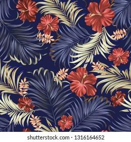 Vector Hawaiian pattern, vintage style aloha shirt design. Hibiscus and palm on dark blue background.