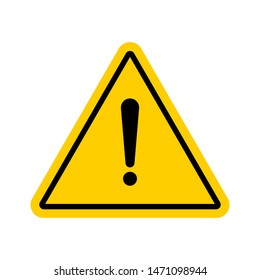 Vector hazard warning symbol. Warning icon, Sign of attention isolated on white background for use on web, typography, on the road, construction and more.