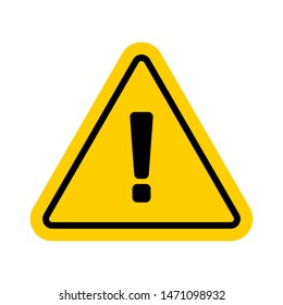 Vector hazard warning symbol isolated on white background. Yellow warning icon and sign of problem for use on web, typography, on the road and construction.