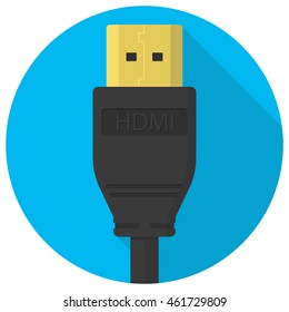 Vector hdmi cable plug icon flat in circle.