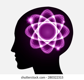 vector Head atom icon. dark purple atom molecule science symbol brain scientific mind thinker. silhouette. infographics.