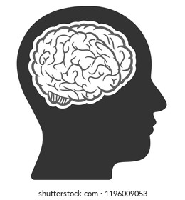 Vector head brain illustration. An isolated illustration on a white background.