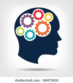 Vector Head gears. Abstraction of thinking mind. This icon serves as idea of teamwork mind, working think, memory training, brain system, psychology, knowledge.