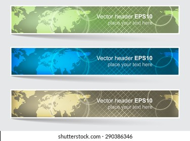 Vector header or banner, world map background. Editable design for your website presentation.