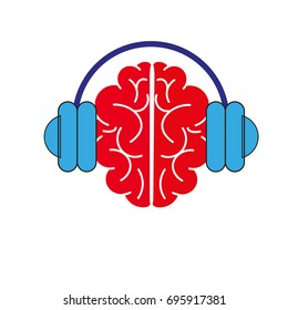 vector headphones and the brain, music icon