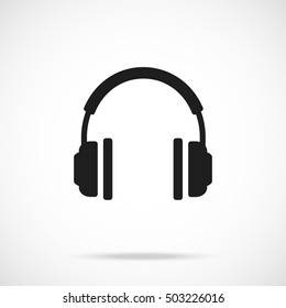 Vector headphones icon. Black symbol silhouette isolated on modern gradient background