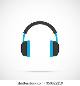 Vector headphones icon. Flat headphones icon. Flat design vector illustration concept for web banner, web and mobile, infographics. Headphones icon graphic. Vector icon isolated on gradient background