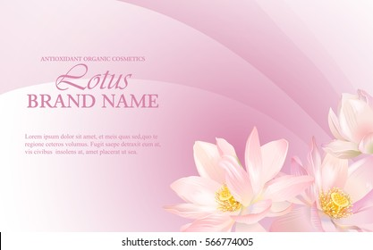 Vector health care horizontal banner with white lotus on pink. Design for natural cosmetics, women hygiene products, soap and napkins. Can be used as yoga center and ayurveda products background