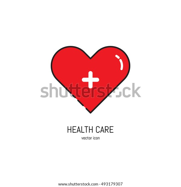 Vector health care icon in trendy linear style. Red heart with white cross