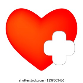 Vector health care icon, white cross at the side of a red heart