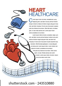 Vector health care page design with stethoscope and heart graph illustrations.