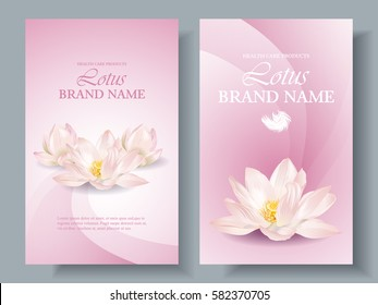 Vector health care vertical banners with white lotus on pink. Design for natural cosmetics, women hygiene products, soap and napkins. Can be used as yoga center and ayurveda products background
