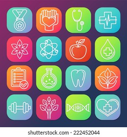 Vector healthcare and fitness icons and logos on square app buttons
