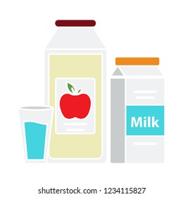 vector healthy apple with milk isolated icon - fresh breakfast sign symbol . fresh apple juice symbol