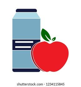 vector healthy apple with milk isolated icon - fresh breakfast sign symbol . fresh apple juice symbol