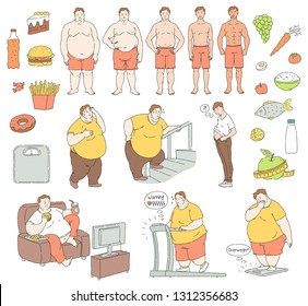 Vector healthy eating and sportive lifestyle characters and food and unhealthy fastfood diet and obesity men. Obese people with belly fat suffering from overweight, fit handsome men collection.
