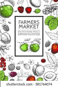 Vector Healthy Food template. Vintage logo, fruits and berries.Hand drawn. Farmers market. Style of etching. Sketch. Vegetarian fresh eco product.
