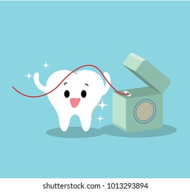 Vector of healthy tooth using dental floss for dental care