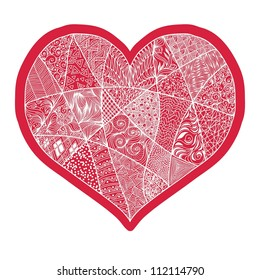 Vector heart with abstract ornament. Heart design element background for cute cards on Valentine's Day. Heart love concept.