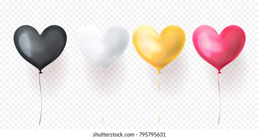 Vector heart air balloon for Valentines Day or birthday greeting card design. Heart helium baloon black, white, yellow or gold and pink decoration set on transparent background