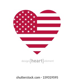 The vector heart with american flag color and symbols