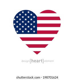 The vector heart with american flag colors and symbol