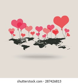 vector heart ballons with world map - background