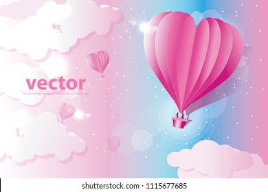 vector heart balloon blow up in the air.man and woman in the balloon