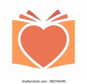 Vector heart and book logo