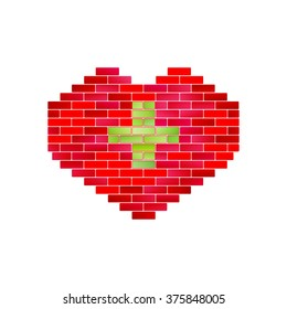 Vector heart of bricks. Creative concept for industry of health, medicine problems and ecology services. Eco plus. Loving green idea. Eco symbol. Love green logo.