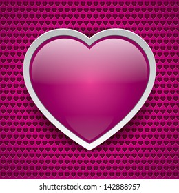 Vector heart button, love texture, pink background, holey surface, valentine card