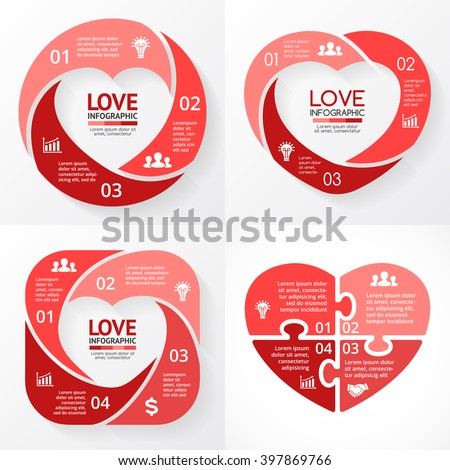 Vector Heart Circle Infographic Template Love Stock Vector Royalty