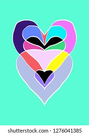 Vector Heart with colorful shapes