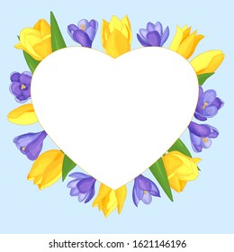 Vector heart frame with flowers - yellow tulips and purple crocuses on a blue background, Valentine's day, for the design of greeting cards, covers, print on textiles